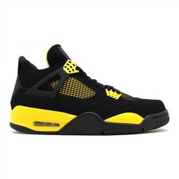 308497-008 Air Jordan 4 Retro Thunder Black White-Tour Yellow