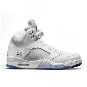 Authentic 136027-130 Air Jordan 5 Retro White/Metallic Silver-Black (Men Women GS Girls)