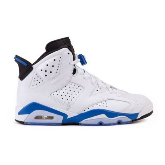 74a4e0301ee Authentic 384664-107 Air Jordan 6 Retro White Sport Blue-Black( Men Women  GS Youth Girls)